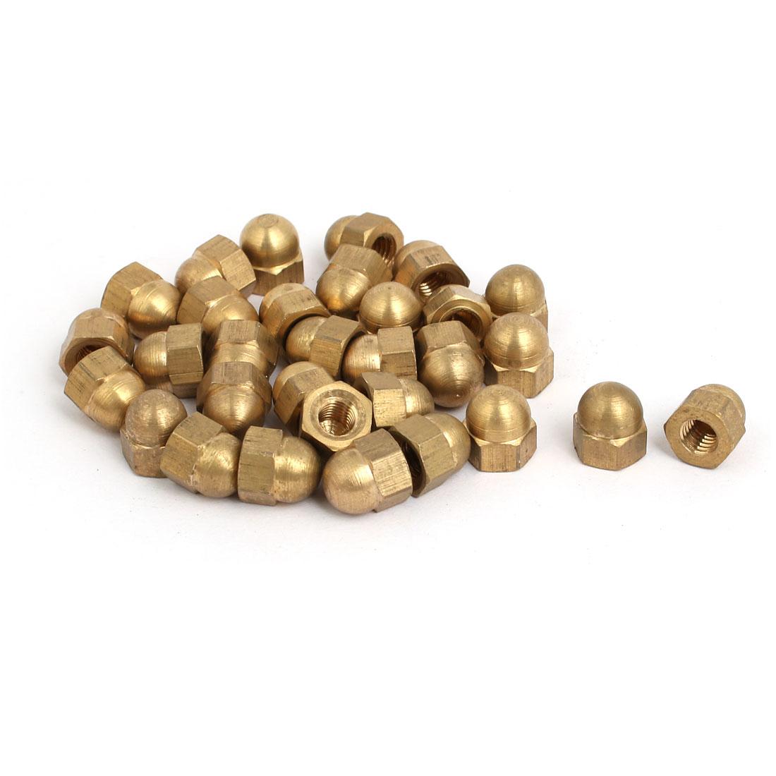 30pcs M5 Female Thread Nut DIN1587 Dome Cap Head Hex Brass Tone