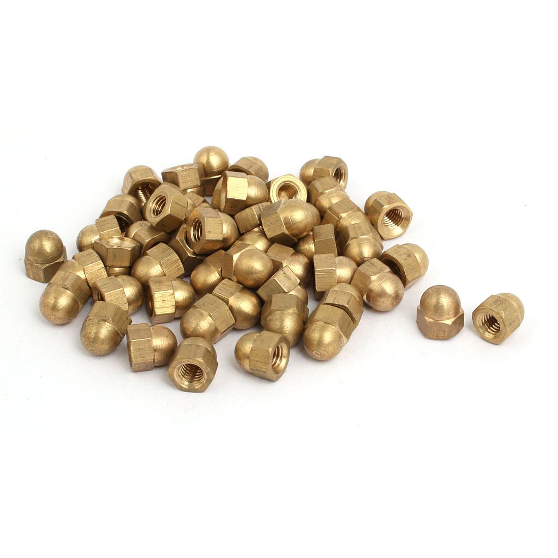 50pcs M5 Female Thread Nut DIN1587 Dome Cap Head Hex Brass Tone