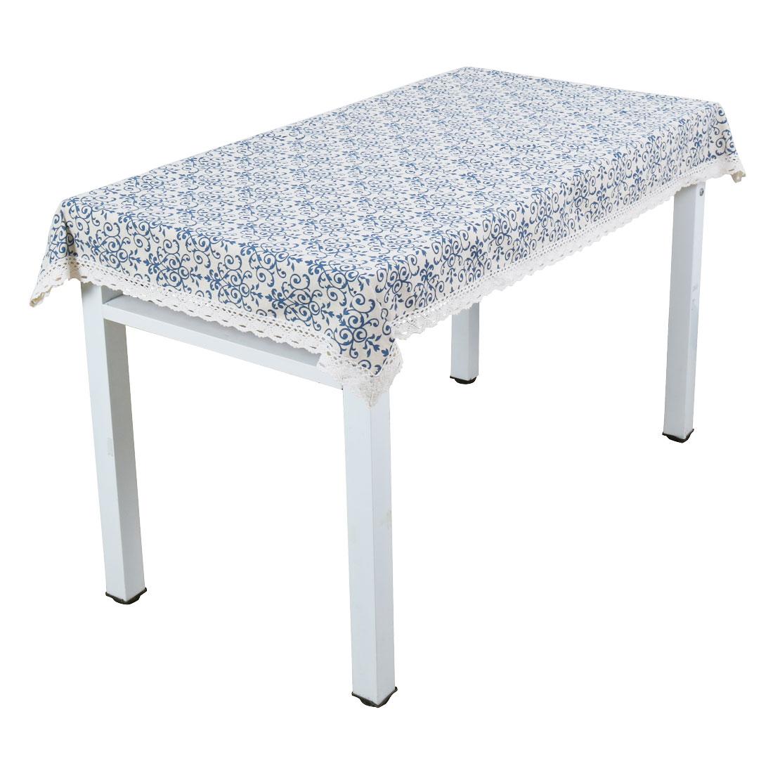 Vintage Navy Damask Pattern Lace Tablecloth Cotton Linen Table Cover 140 x 250cm
