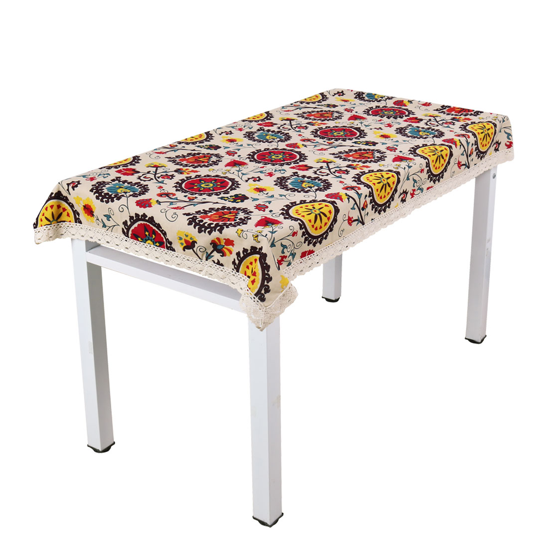 Vintage Lace Sun Flower Tablecloth Cotton Linen Washable Table Cover 140 x 140cm