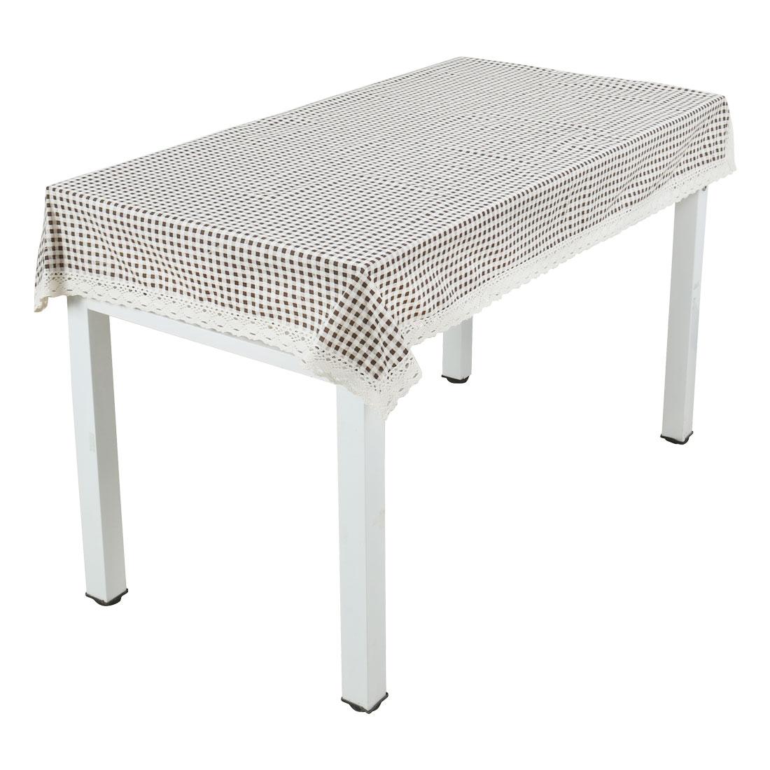 Vintage Coffee Color Plaid Tablecloth Cotton Linen Washable Table Cover 140 x 140cm