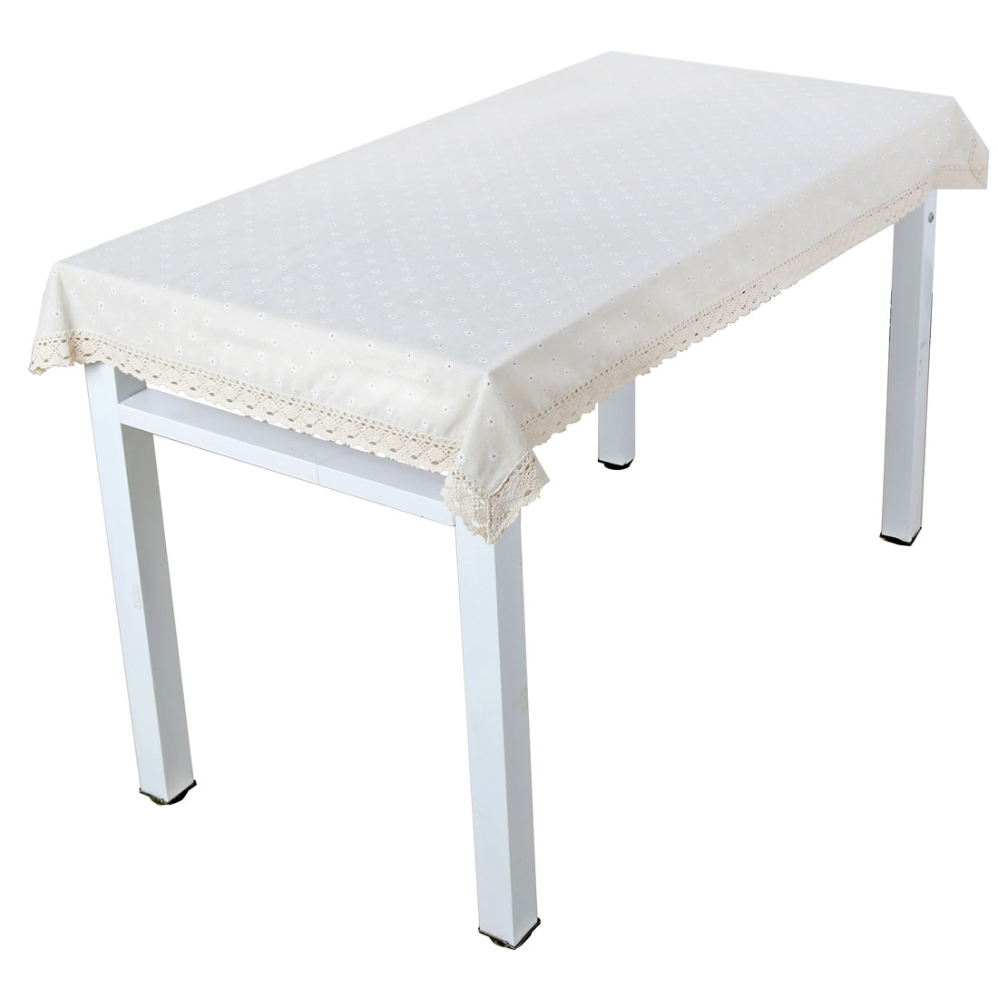 Vintage White Chrysanthemum Tablecloth Cotton Linen Washable Table Cover 140 x 250cm
