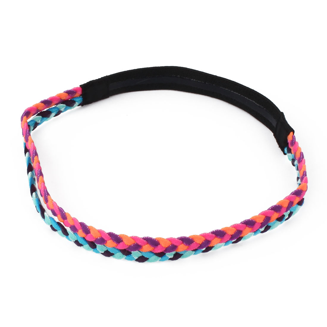 Athletics Elastic Fabric Double Braid Design Non-slip Sports Headband Headwrap Orange Blue