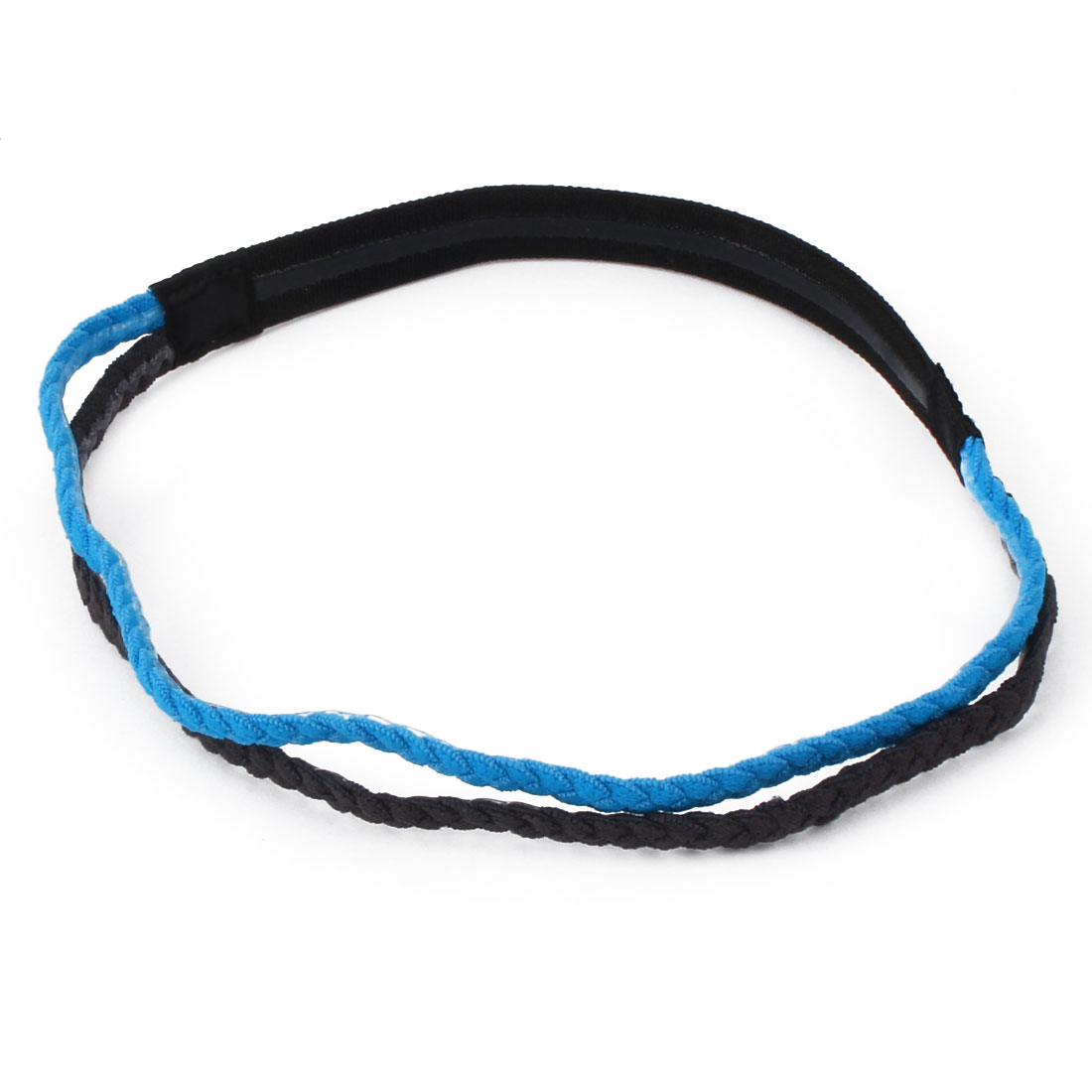 Athletics Elastic Fabric Double Braid Design Non-slip Sports Headband Headwrap Blue Black