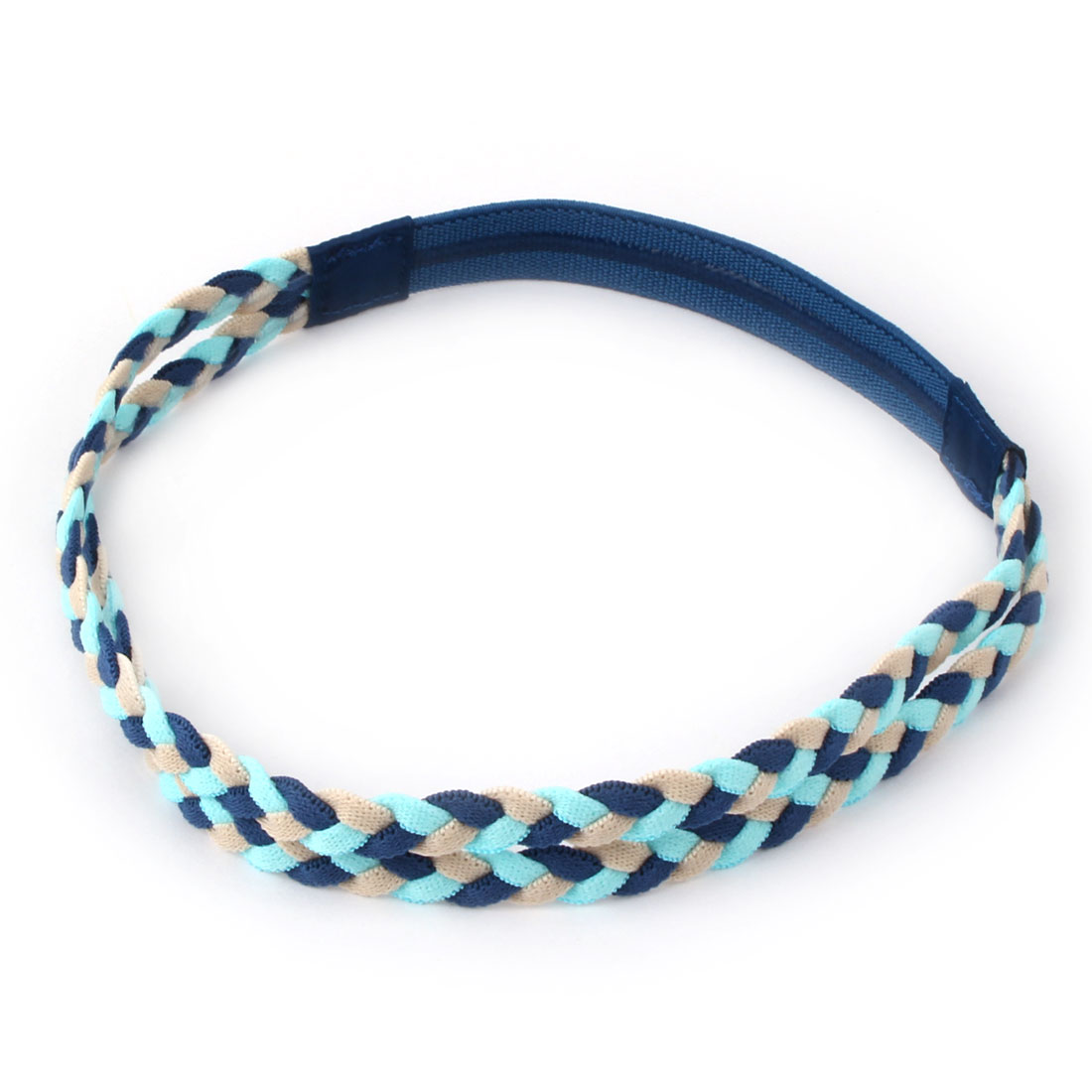 Exercise Elastic Fabric Double Braid Design Non-slip Sports Headband Headwrap Blue Beige