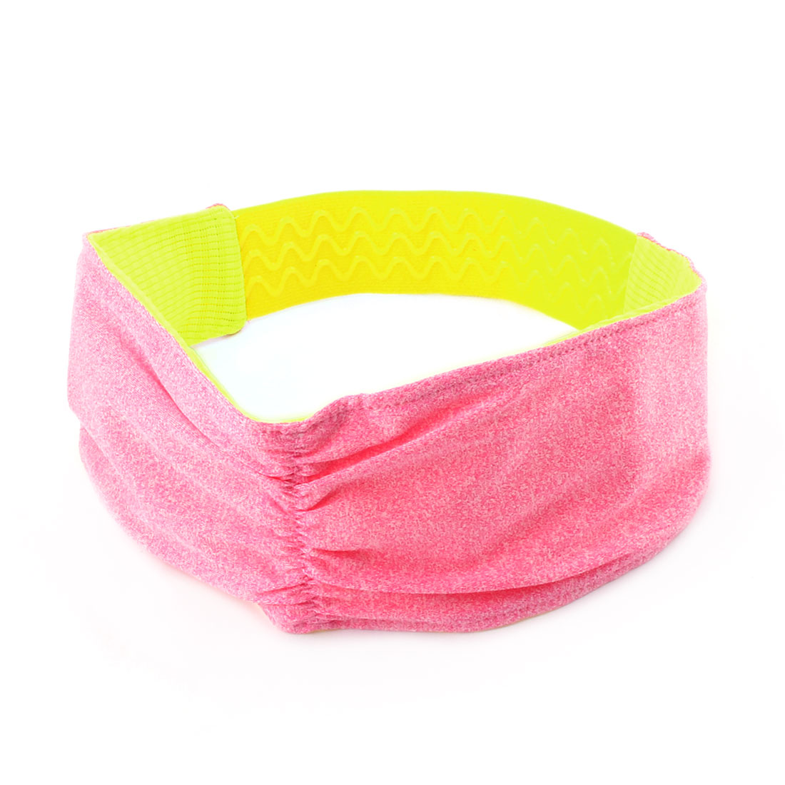 Outdoor Exercise Cotton Blend Stretch Sweat Wicking Sports Headband Fuchsia Yellow