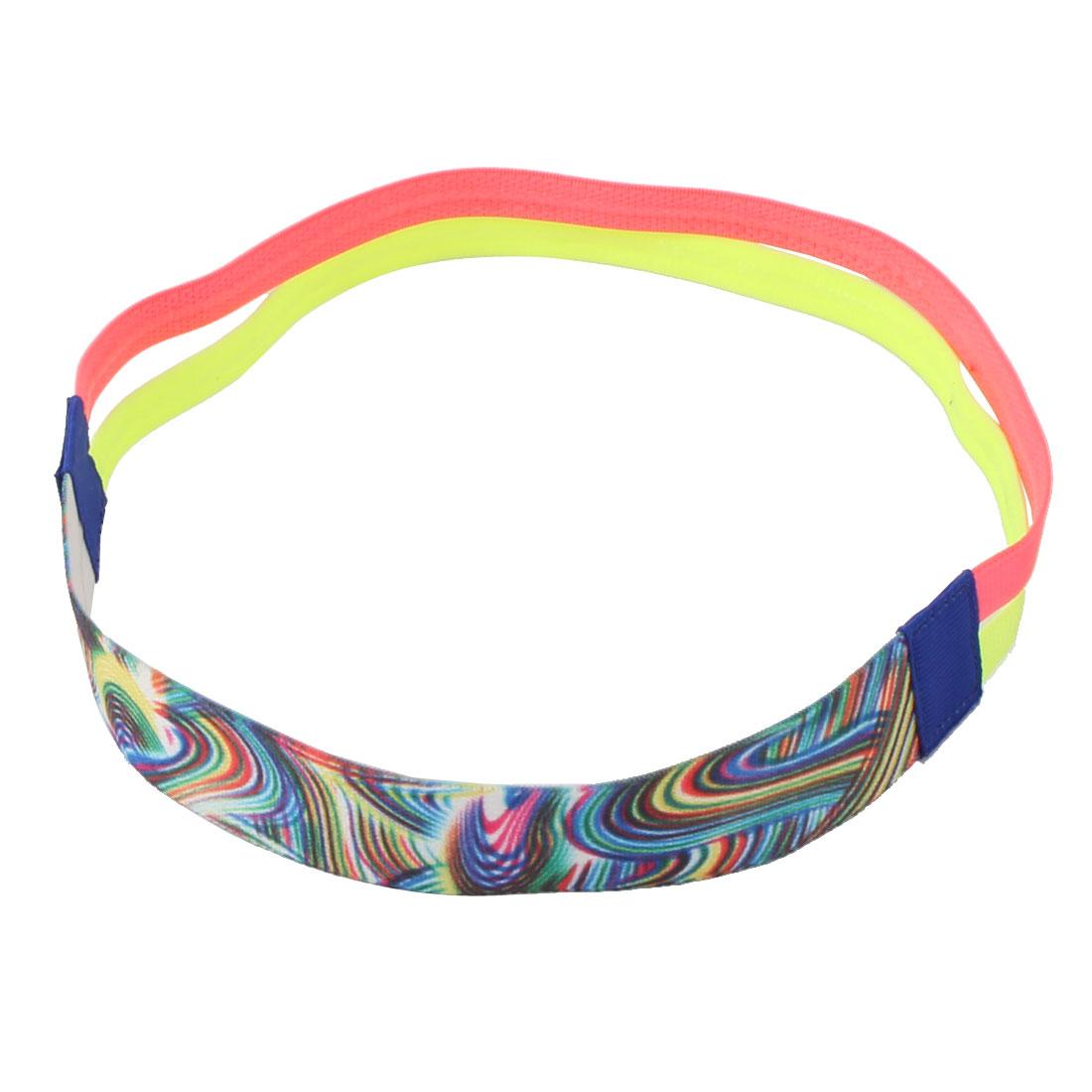 Exercise Silicone Double Line Design Non-slip Sports Headband Headwrap Pink Fluorescent Green