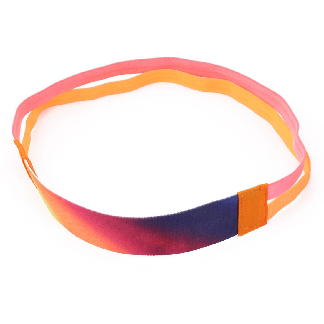 Traning Silicone Double Line Design Non-slip Sports Headband Headwrap Pink Orange