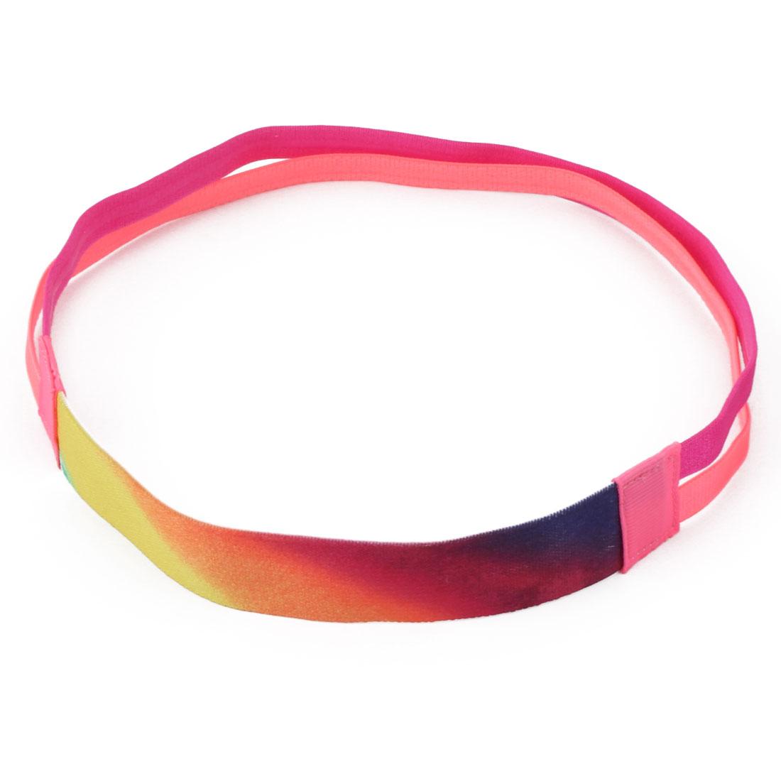 Traning Silicone Double Line Design Non-slip Sports Headband Headwrap Pink Fuchsia