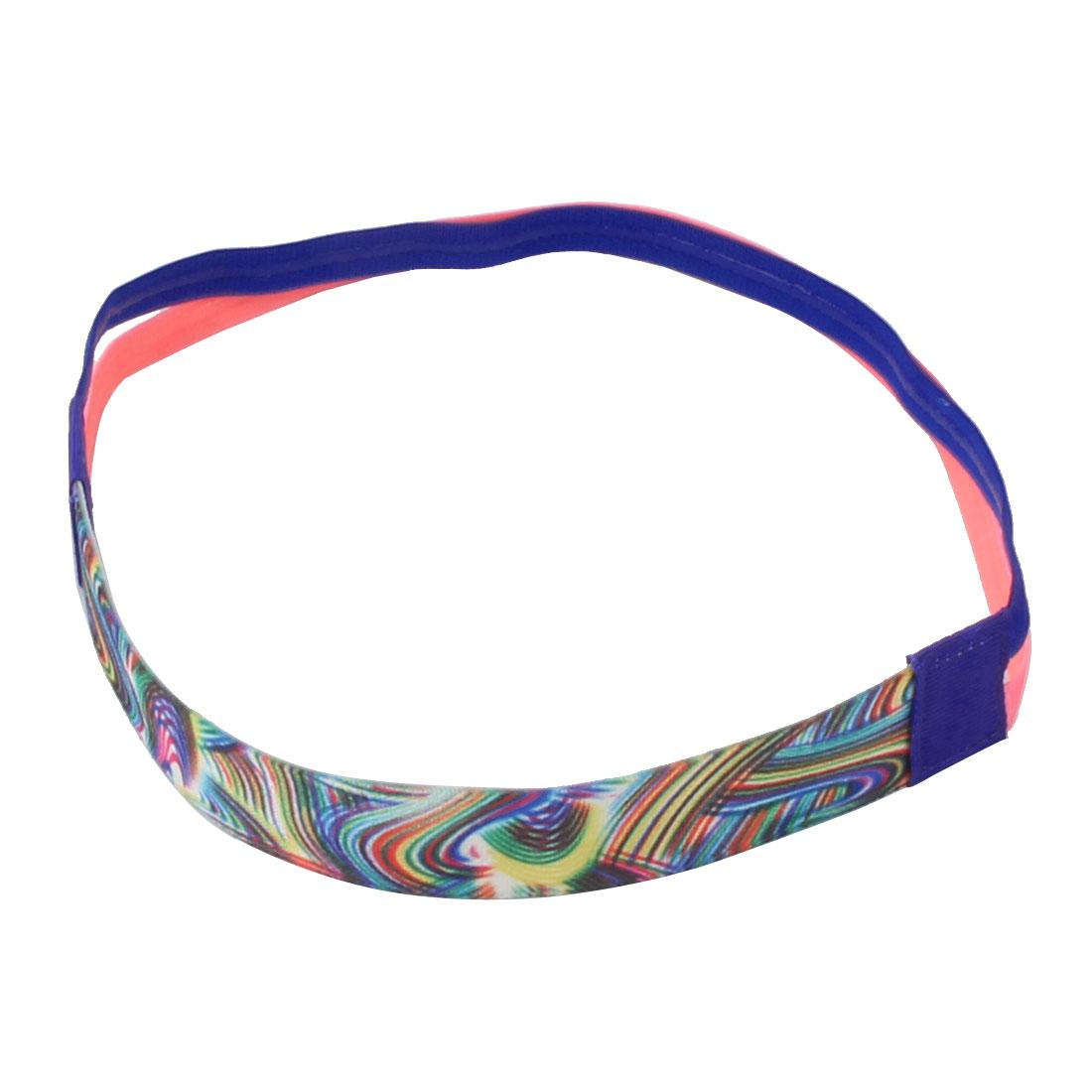 Exercise Silicone Double Line Design Non-slip Sports Headband Headwrap Blue Pink