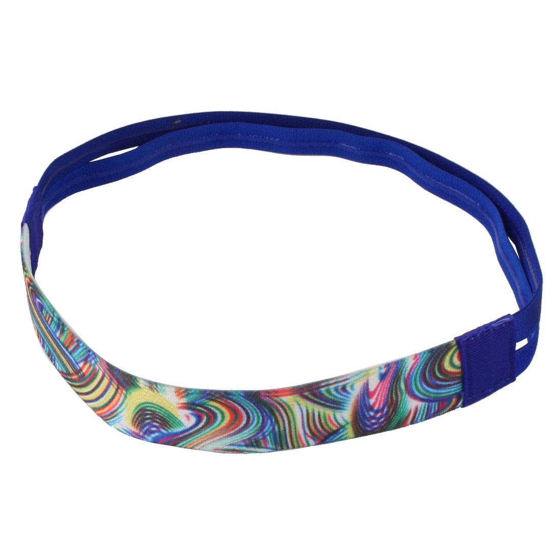 Exercise Silicone Double Line Design Non-slip Sports Headband Headwrap Dark Blue