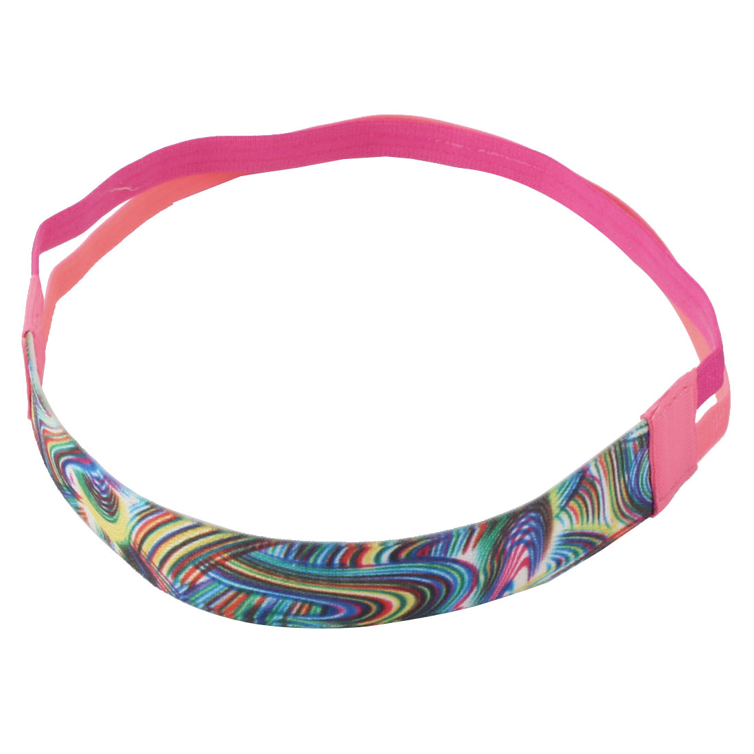 Exercise Silicone Double Line Design Non-slip Sports Headband Headwrap Pink Fuchsia