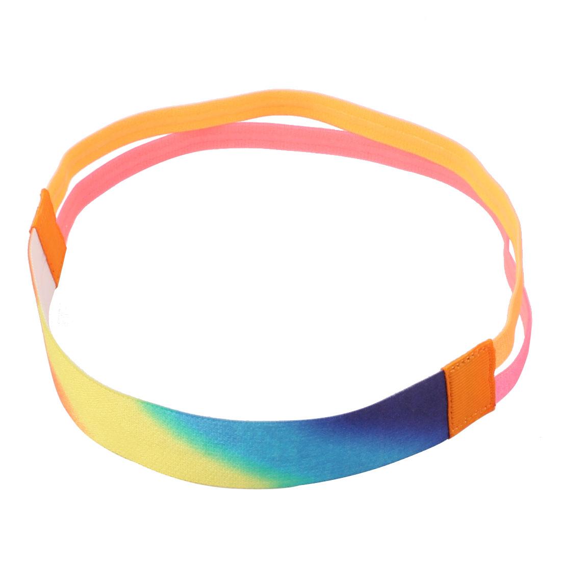 Yoga Silicone Double Line Design Non-slip Sports Headband Headwrap Pink Orange