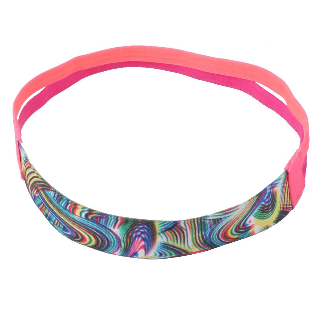 Yoga Silicone Double Line Design Non-slip Sports Headband Headwrap Pink Fuchsia