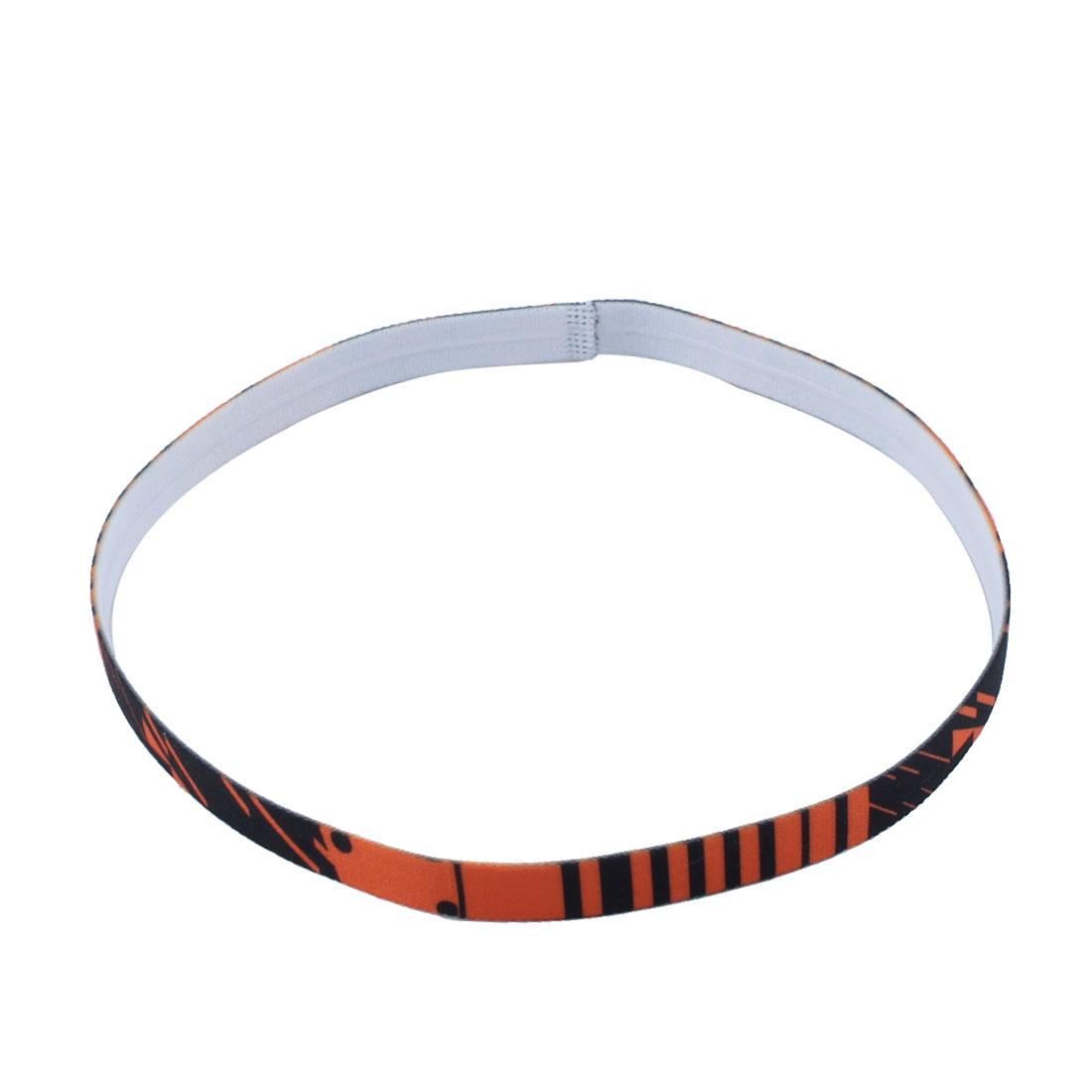 Exercise Silicone Flower Printed Non-slip Strech Sports Headband Orange Black