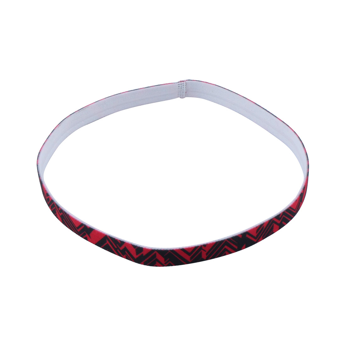 Exercise Silicone Flower Printed Non-slip Strech Sports Headband Red Black