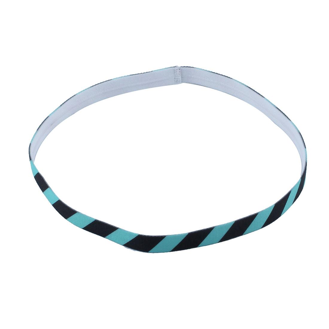 Exercise Silicone Flower Printed Non-slip Strech Sports Headband Light Blue Black