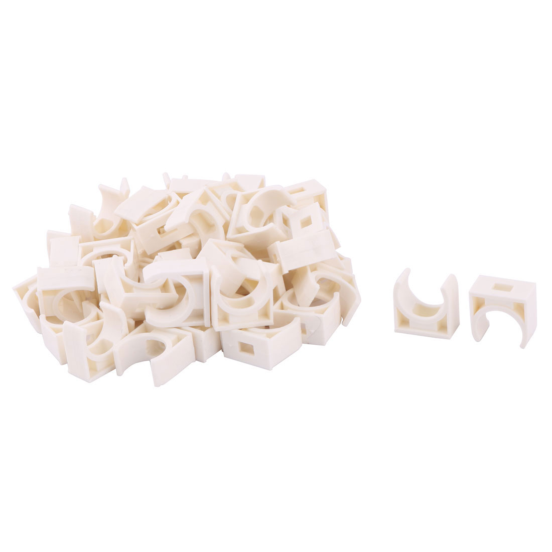 Home PVC U Shaped Water Supply Tube Pipe Holder Clamps Clips 16mm Dia 50 Pcs