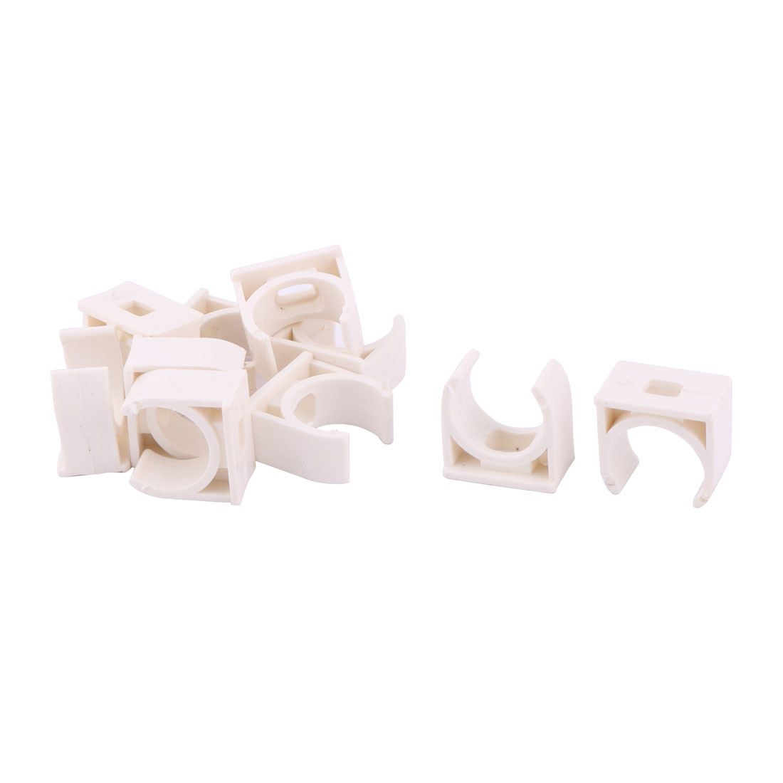Home PVC U Shaped Water Supply Pipe Holder Stand Clamps White 20mm Dia 10pcs