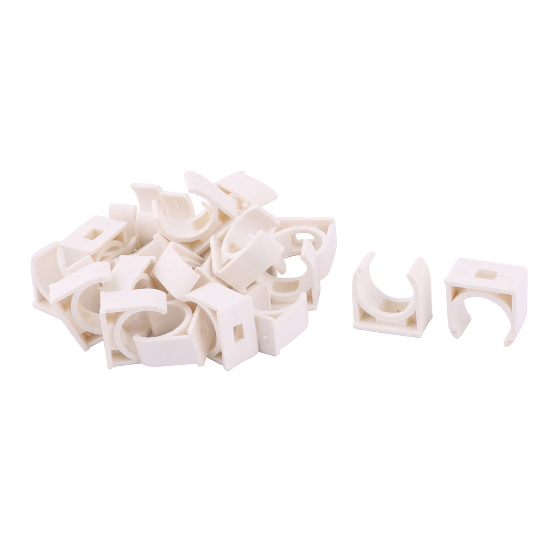 Home PVC U Shaped Water Supply Pipe Holder Stand Clamps White 20mm Dia 25pcs