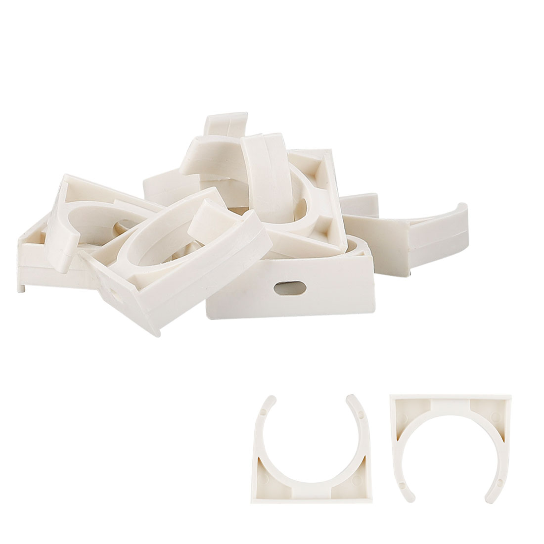 Home PVC U Shaped Water Supply Tube Pipe Holder Clamps Clip White 40mm Dia 10pcs