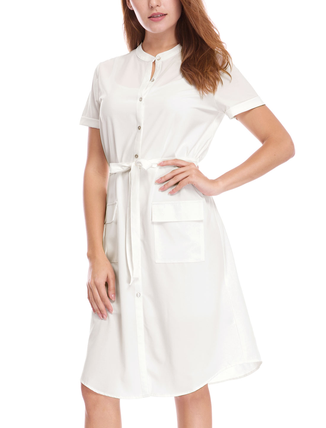 Women Short Sleeves Pockets Belted Midi Shirt Dress Ivory XL