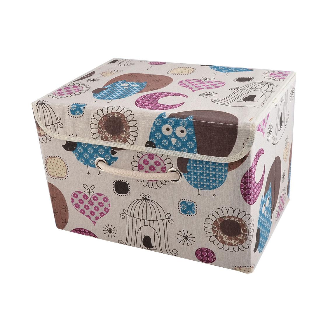 Home Cotton Linen Owl Pattern Clothes Books Snacks Holder Storage Box Organizer