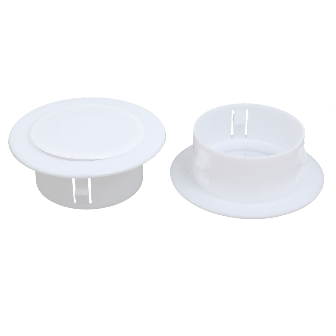 99mmx36mm Plastic Air Conditioning Wall Hole Cover White 2pcs