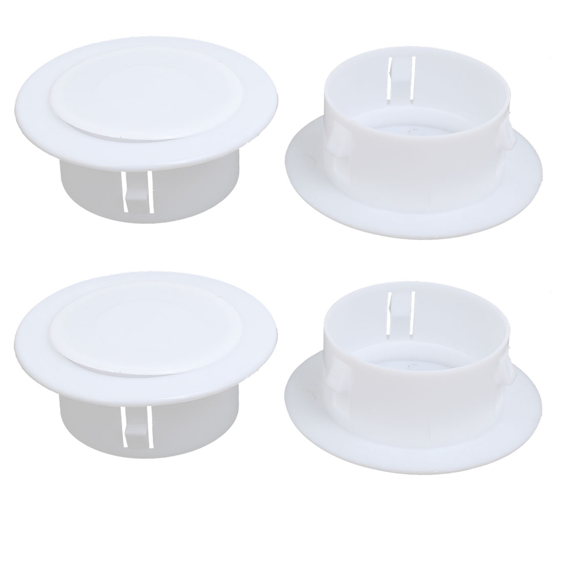 99mmx36mm Plastic Air Conditioning Wall Hole Cover White 4pcs