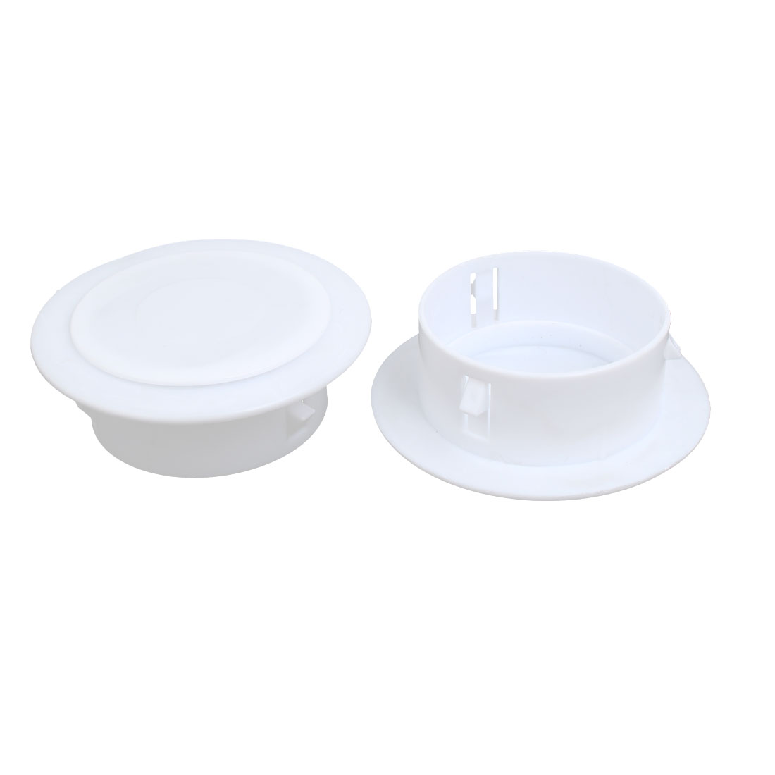115mmx40mm Plastic Air Conditioning Wall Hole Cover White 2pcs