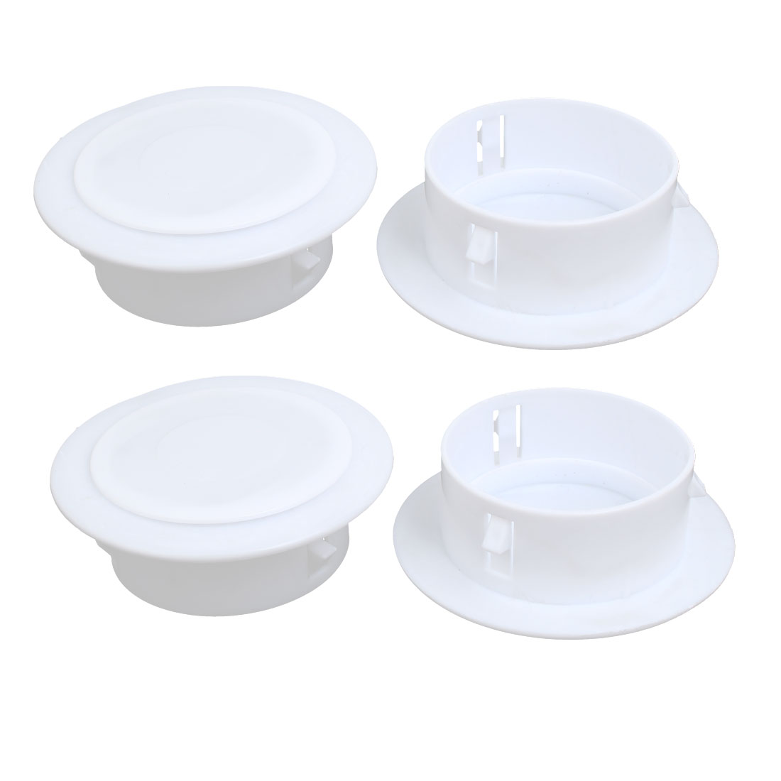 115mmx40mm Plastic Air Conditioning Wall Hole Cover White 4pcs