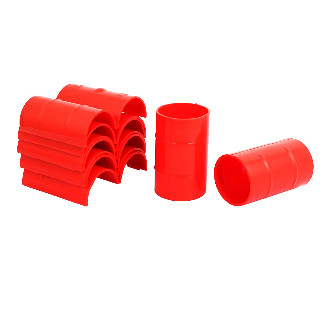 50mm Dia 2mm Thickness Central Air Conditioning Pipe Tube Clamp Red 9pcs
