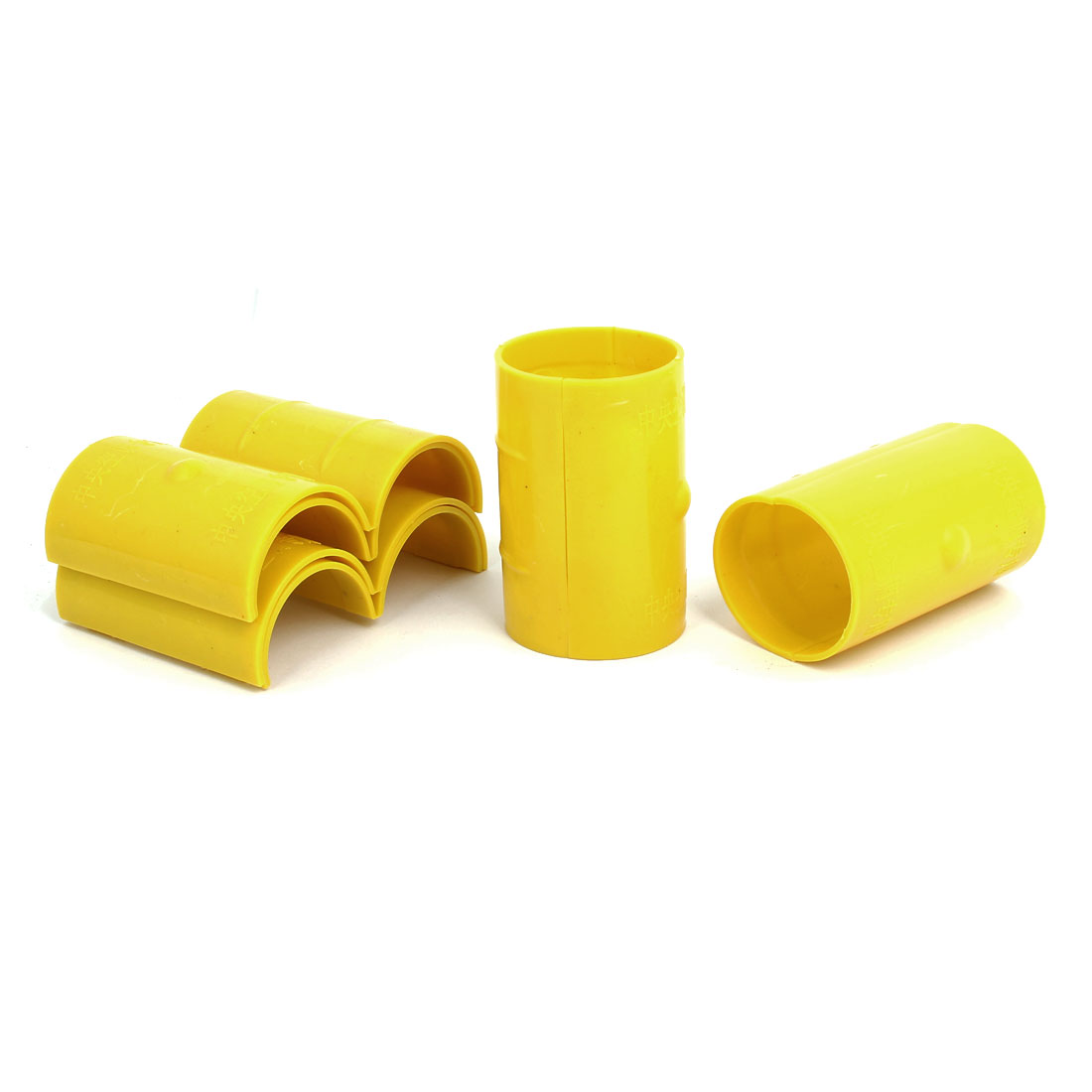 50mm Dia 2mm Thickness Central Air Conditioning Pipe Tube Clamp Yellow 6pcs