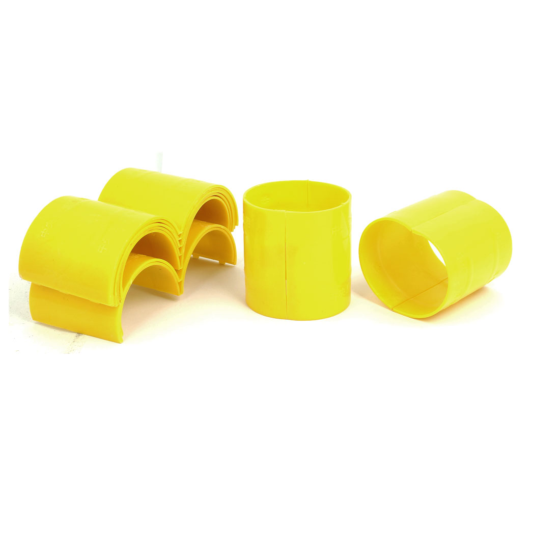 75mm Dia 2mm Thickness Central Air Conditioning Pipe Tube Clamp Yellow 9pcs