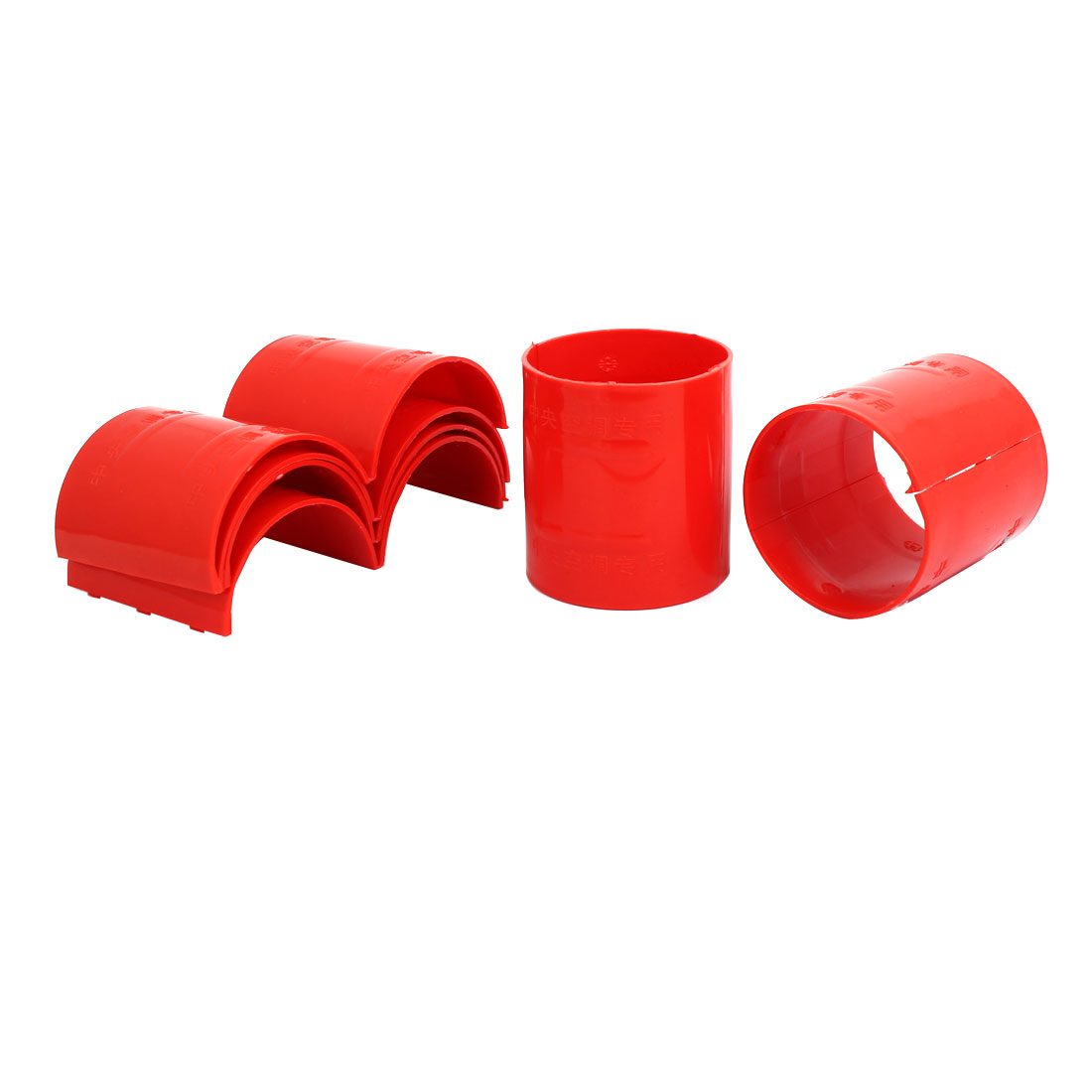 75mm Dia 2mm Thickness Central Air Conditioning Pipe Tube Clamp Red 6pcs