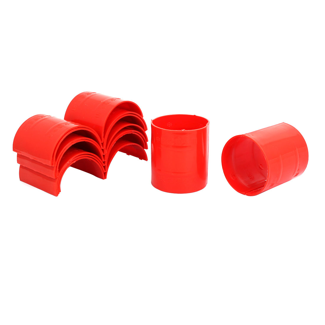75mm Dia 2mm Thickness Central Air Conditioning Pipe Tube Clamp Red 9pcs