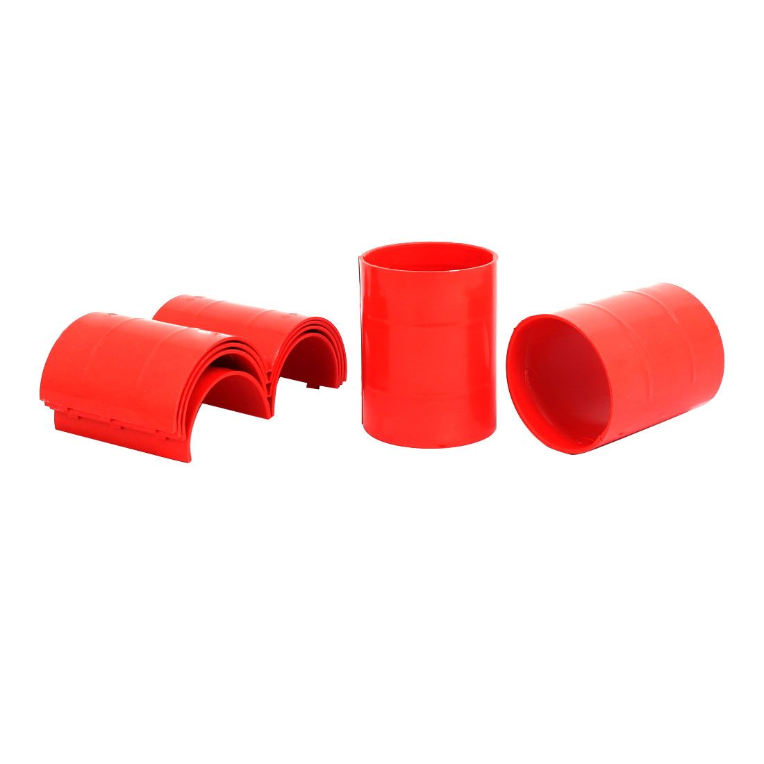 63mm Dia 2mm Thickness Central Air Conditioning Pipe Tube Clamp Red 6pcs