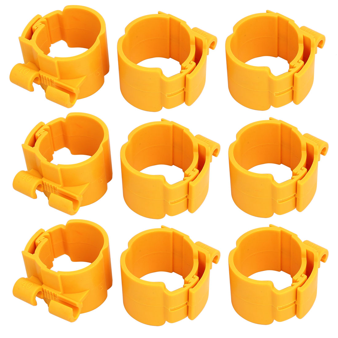 40mm Dia 35mm Width Central Air Conditioner Pipe Clip Clamp Yellow 9pcs