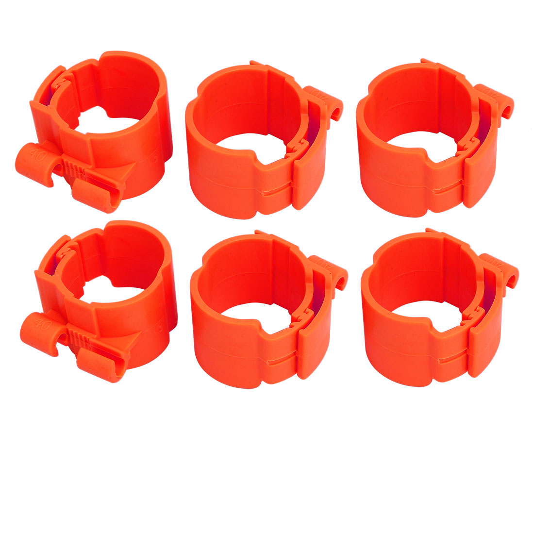 40mm Dia 35mm Width Central Air Conditioner Pipe Clip Clamp Red 6pcs