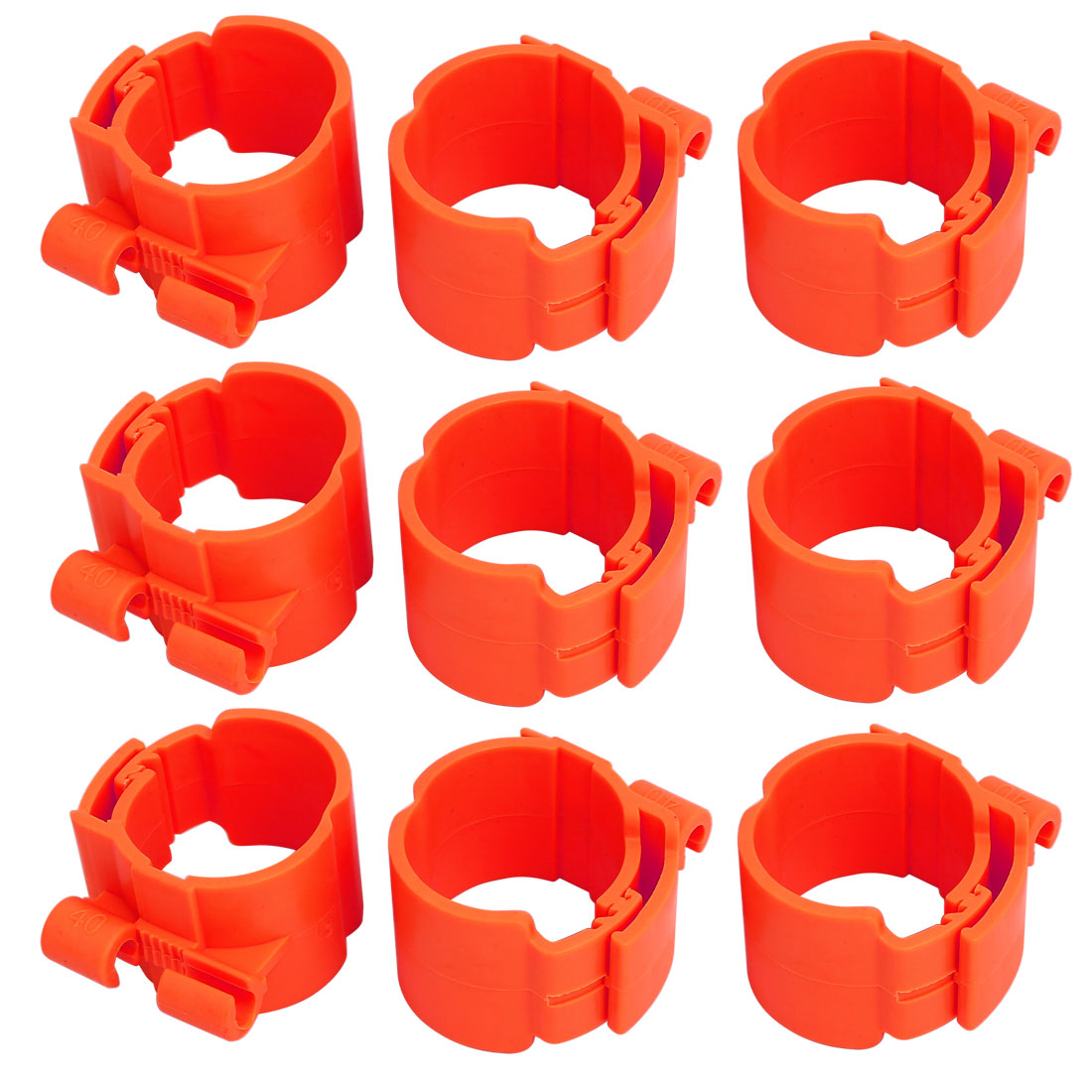 40mm Dia 35mm Width Central Air Conditioner Pipe Clip Clamp Red 9pcs