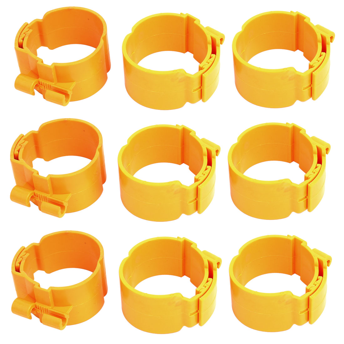 60mm Dia 38mm Width Central Air Conditioner Pipe Clip Clamp Yellow 9pcs