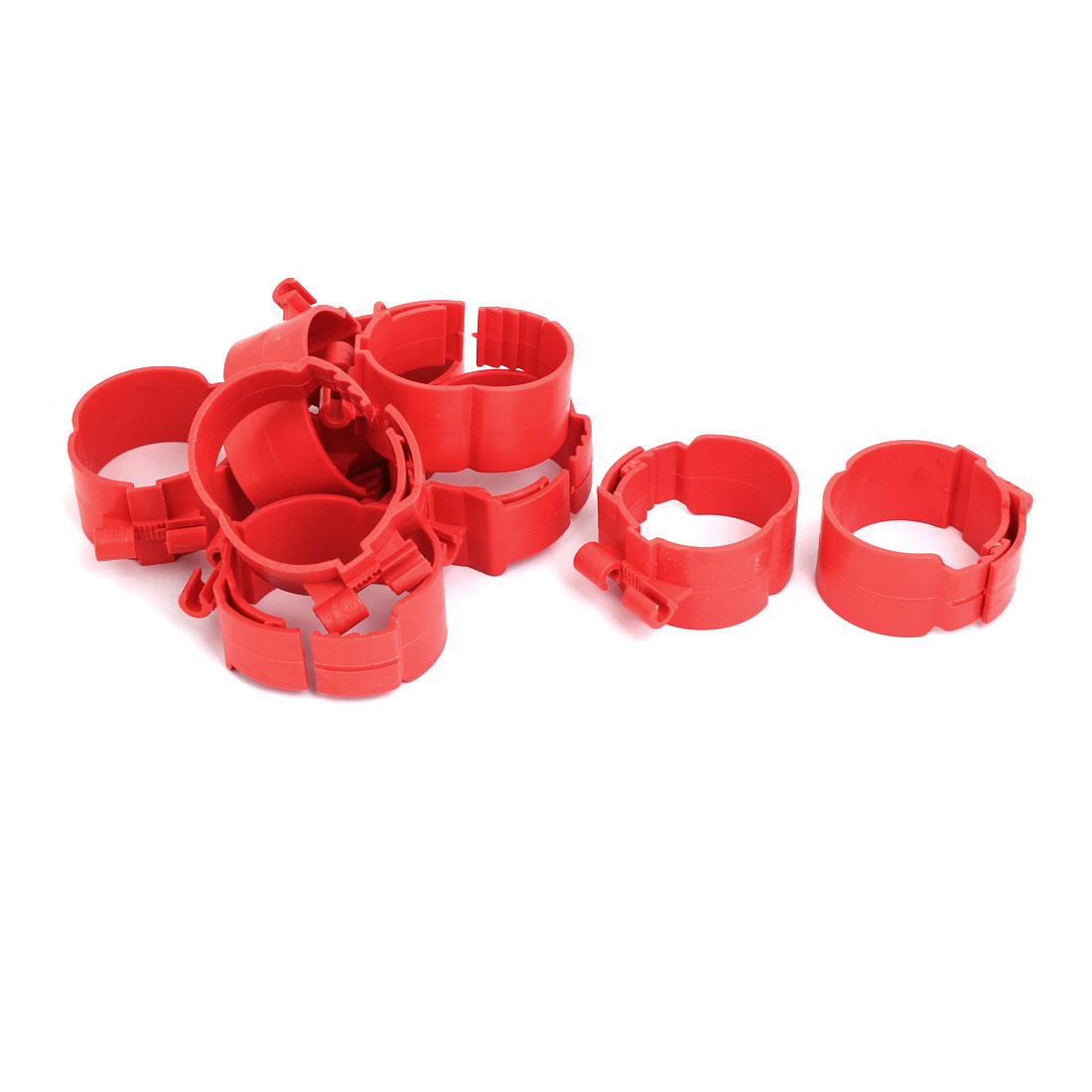 60mm Dia 38mm Width Central Air Conditioner Pipe Clip Clamp Red 9pcs