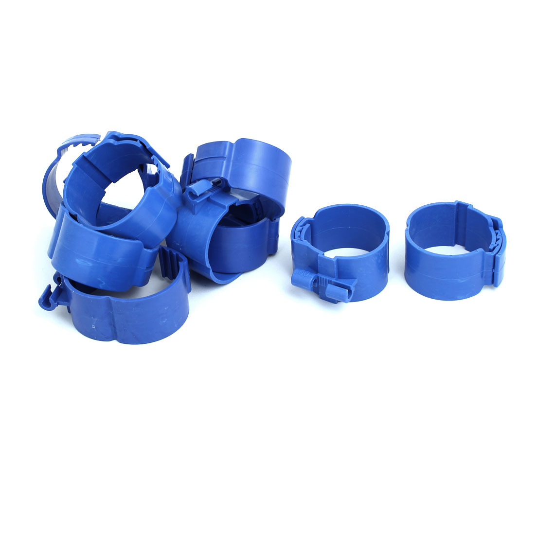 60mm Dia 38mm Width Central Air Conditioner Pipe Clip Clamp Blue 9pcs