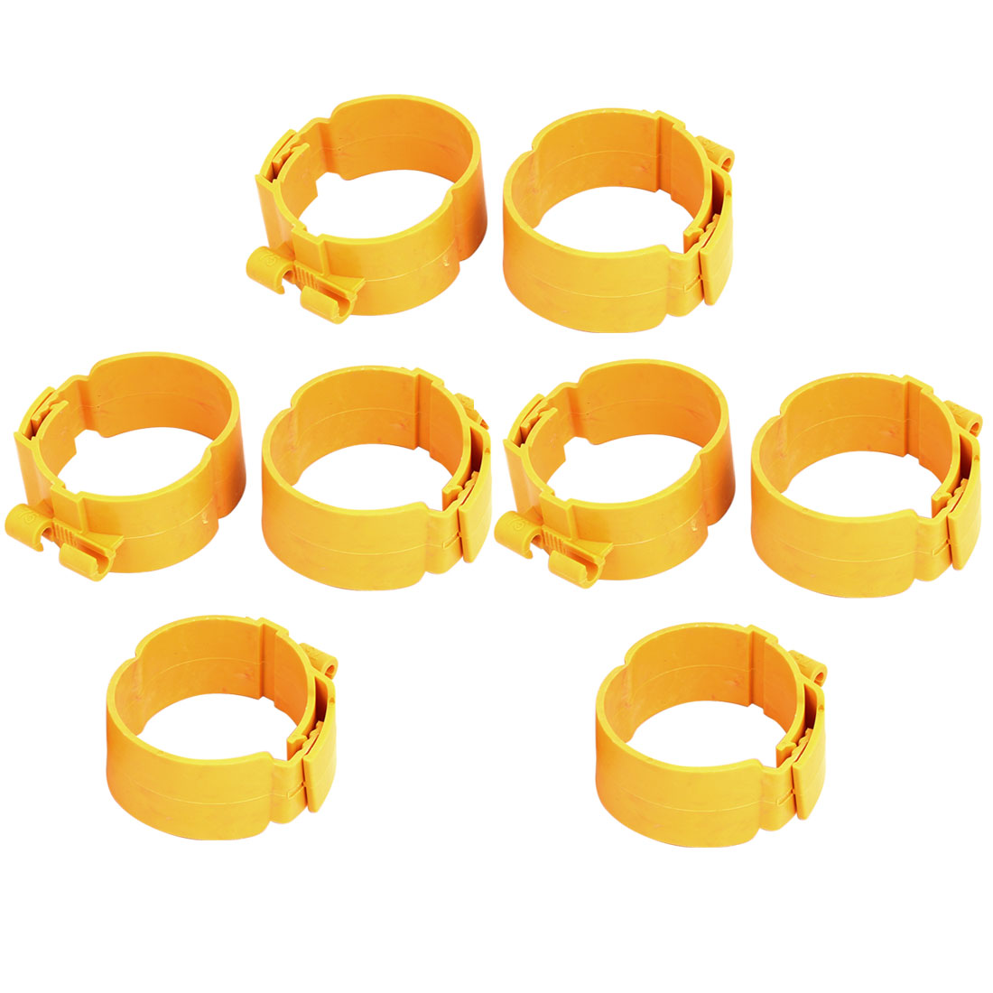 75mm Dia 38mm Width Central Air Conditioner Pipe Clip Clamp Yellow 8pcs