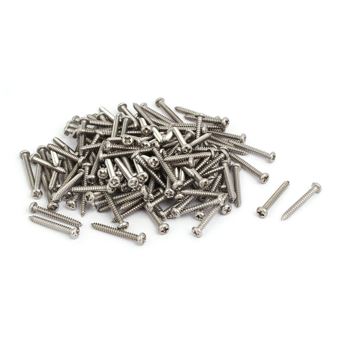 M3x25mm 304 Stainless Steel Phillips Round Pan Head Self Tapping Screws 150pcs