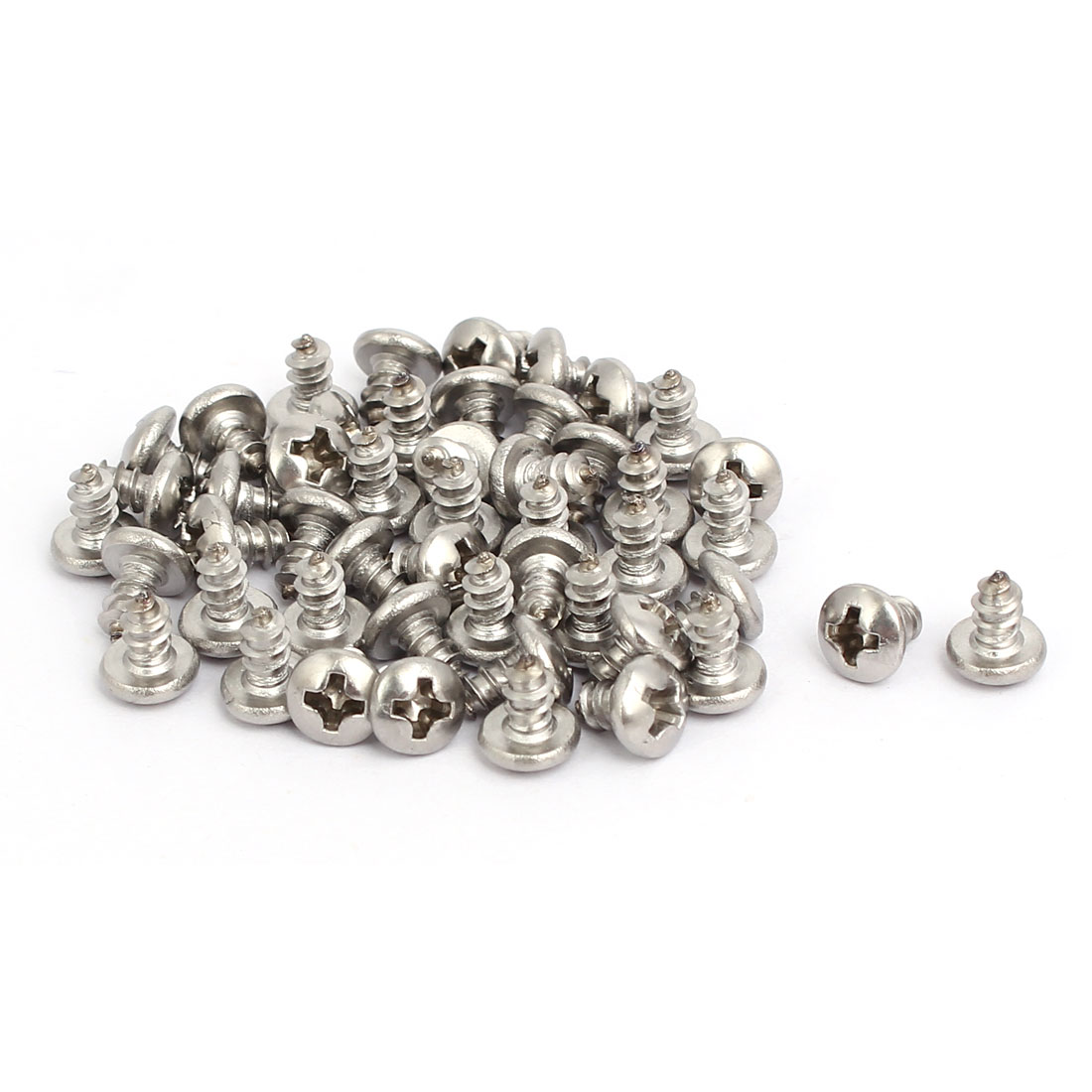 M3.5x6mm 304 Stainless Steel Phillips Round Pan Head Self Tapping Screws 50pcs
