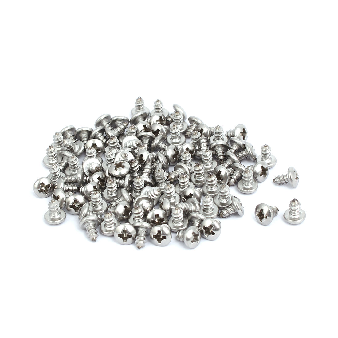 M3.5x6mm 304 Stainless Steel Phillips Drive Pan Head Self Tapping Screws 100pcs