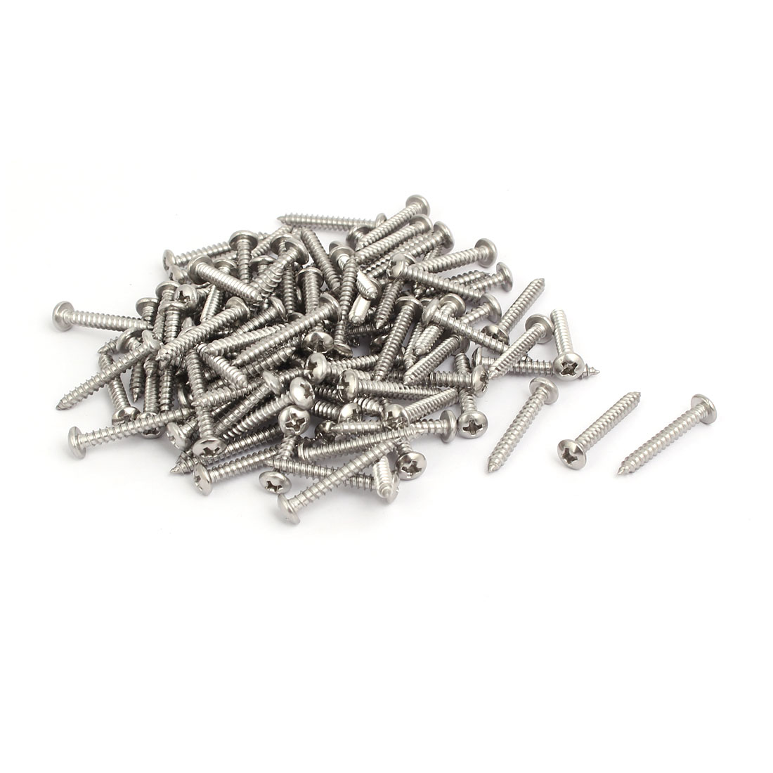 M3.5x25mm 304 Stainless Steel Phillips Round Pan Head Self Tapping Screws 100pcs