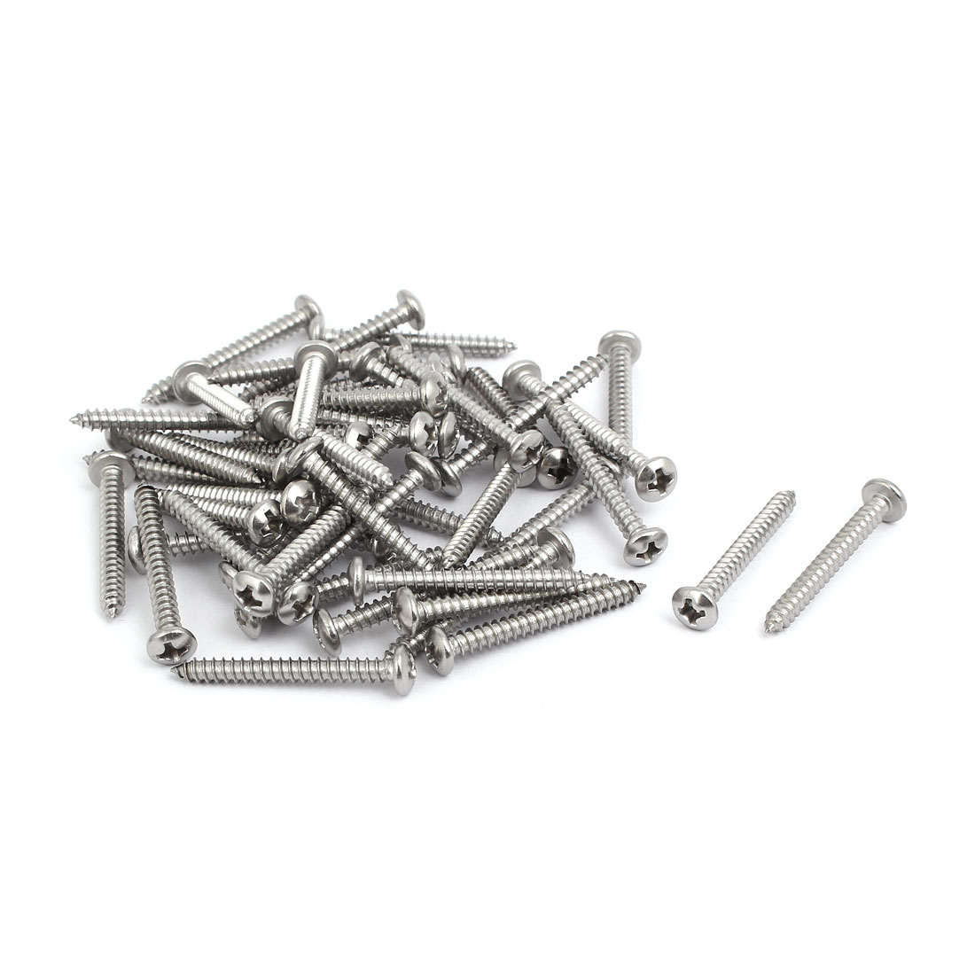 M3.5x30mm 304 Stainless Steel Phillips Drive Pan Head Self Tapping Screws 50pcs