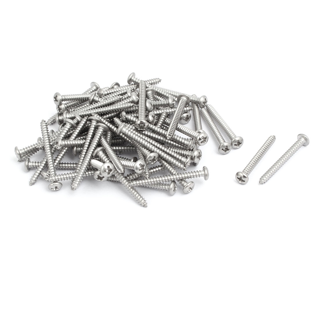 M3.5x35mm 304 Stainless Steel Phillips Drive Pan Head Self Tapping Screws 100pcs